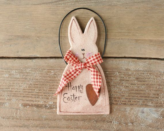 Bunny Rabbit Easter decorations ornament  Happy by BRsaltycandy