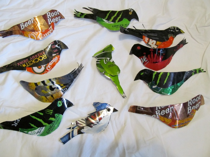 aluminum can birds: Tins Sodas, Sodas Cans, Birds Wind, Old Wood, Birds Songs, Birds Nails