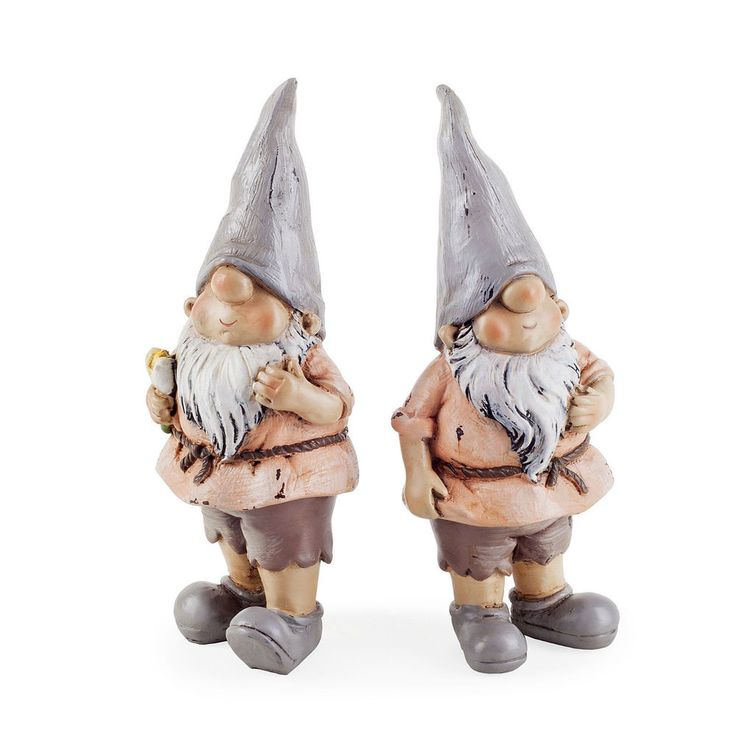 Garden Gnome Ornament Set Rowan & Brody the Garden Loving Gnome Resin 12cm #Gardens2you