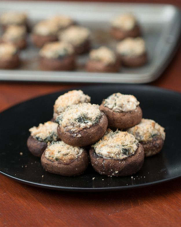 Creamy Spinach-Stuffed Mushrooms- leave out the bread crumbs | You're Stuffing Your Mushrooms The Wrong Way
