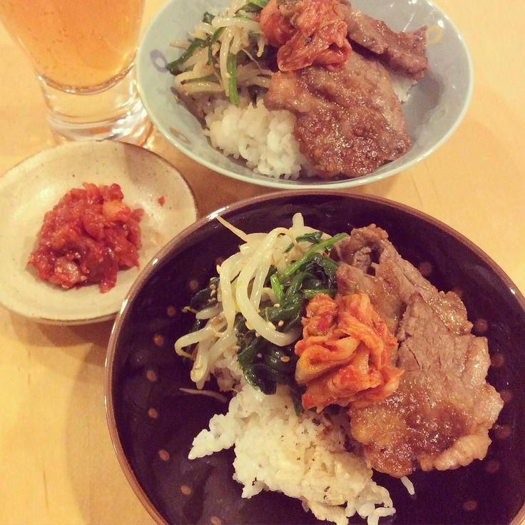 韓国風ご飯韓国料理がやたら食べたくてこんな感じの夕飯に韓国オモニのキムチとチャンジャは最高ただいま参鶏湯食べに行く人絶賛募集中笑#riehibigohan by rie_yabe