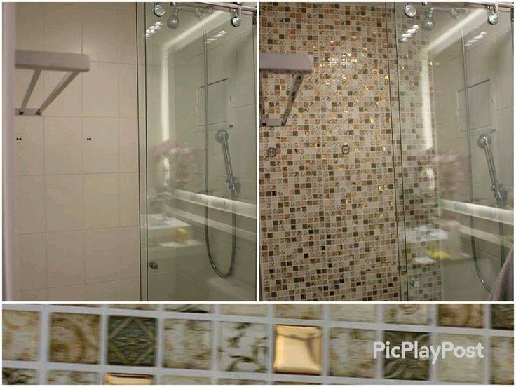 Antes e depois do banheiro - Pastilhas adesivas resinadas - Parceria MMilan