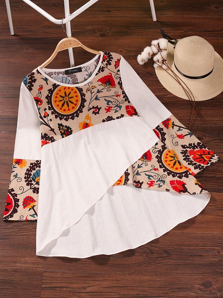 O-NEWE Vintage Floral bedrucktes Patchwork-Shirt für Damen - NewChic Mobile