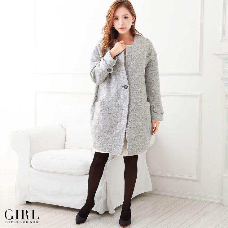 GIRL ノーカラーコート ●価格 10,584円(税込)●サイズ:M/L ●カラー:ベージュ/ネイビー/グレー