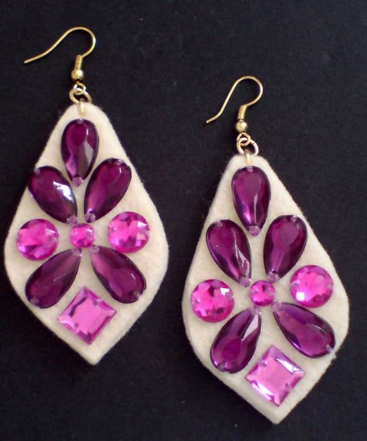 Felt with Rhinestones earrings. For more information contact katerina_liosatou@yahoo.gr.