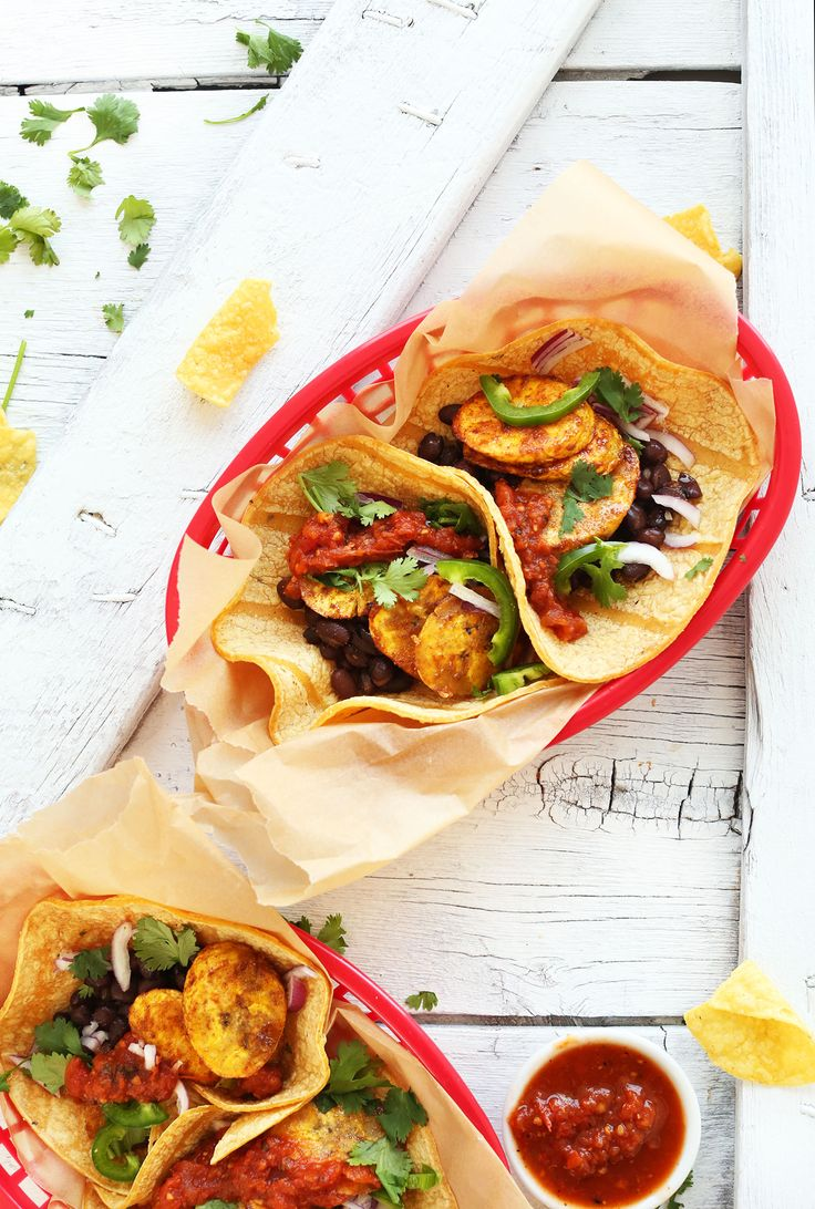 Easy, 30-minute tacos with spicy-sweet sautéed ripe plantains, smoky black beans, and fresh toppings. A satisfying, quick plant-based gluten free meal!