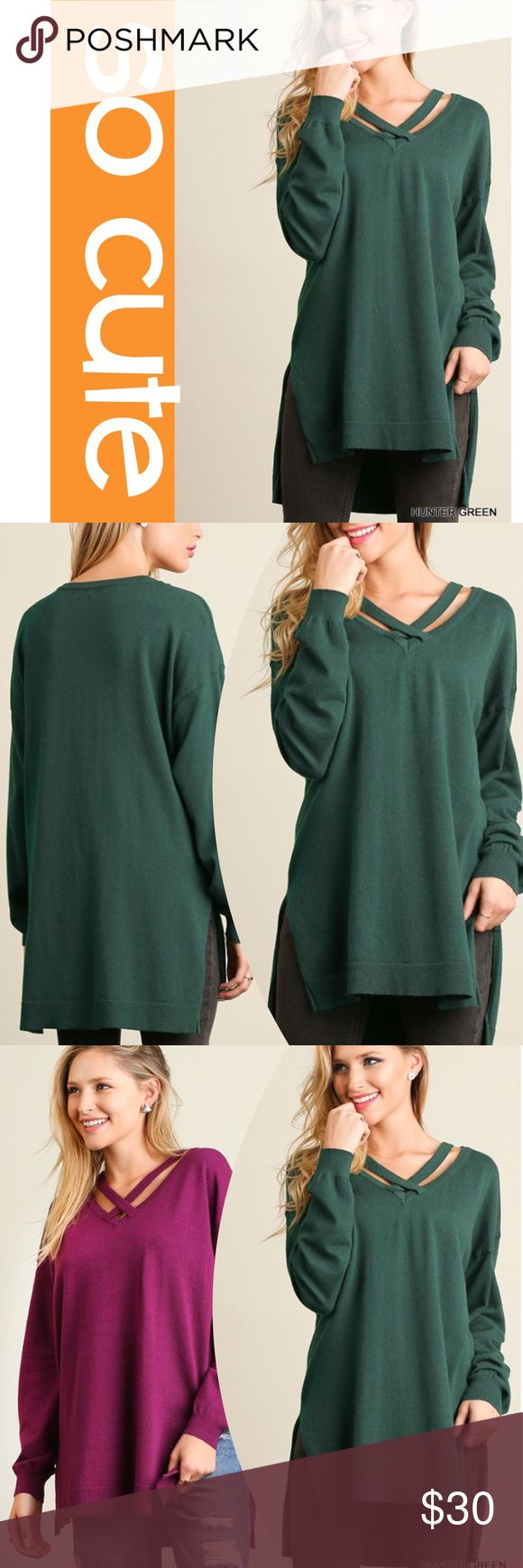 CROSS TOP LIGHTWEIGHT SWEATER Trendy, cross top with a cute high low hem. Very flattering. Rayon/polyester/spandex. Measurements upon request. RASPBERRY ALSO AVAILABLE IN A SEPARATE LISTING. tla2 Sweaters Crew & Scoop Necks