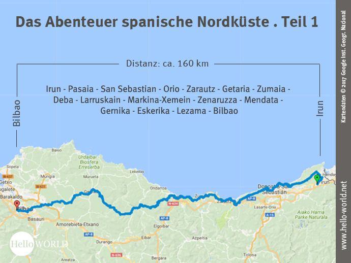 Camino Del Norte Etappe 1 Reisebericht Von Irun Nach Bilbao Reisebericht Bilbao Landkarte