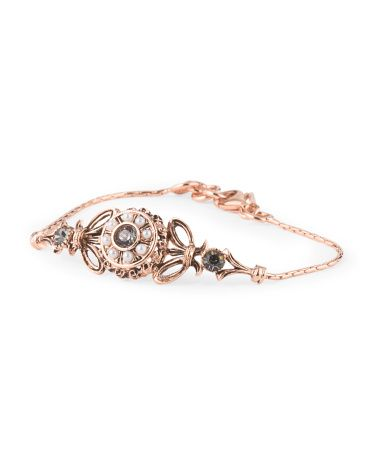 Made In Italy Rose Gold Plated Bronze Crystal And Pearl Bracelet
