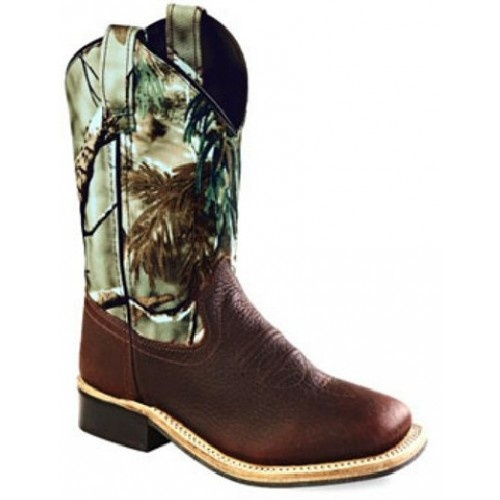 Old West Kids Boots Camo and Brown Square Toe Kids Cowboy Boots