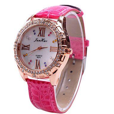 vrouwen diamante patroon witte wijzerplaat pu band quartz analoog horloge – EUR € 5.51