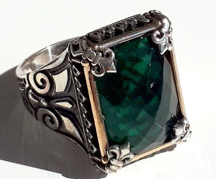 925 STERLING SILVER MEN'S RING WITH TOTALLY REAL EMERALD #Handmade