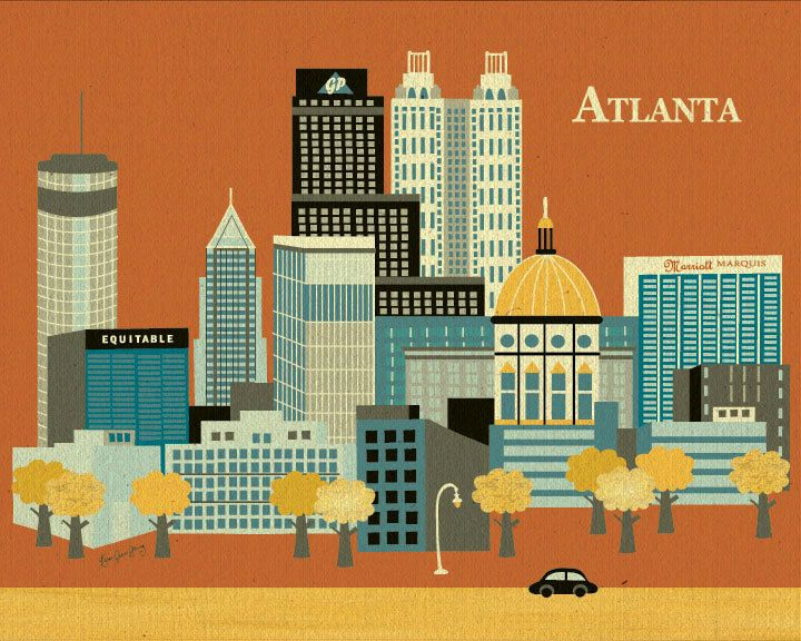 Horizontal Skyline Atlanta, Georgia - Destination Poster Print for Home, Office, and Child's Nursery - style E8-O-AT. $21.50, via Etsy.