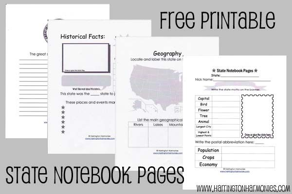 sweet!! -  State notebooking pages... just the right amount of information for my 2nd grader  :)