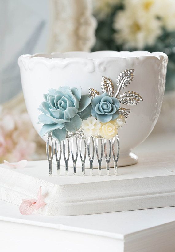 Powder Blue Dusky Blue Dusty Blue Wedding Silver Bridal Hair Comb Ivory Rose Flower Pearl Silver Leaf Collage Comb Something Blue Wedding
