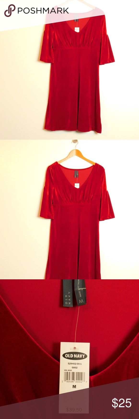 """Red Velvet Bell Sleeve Holiday Party Dress Size M """"Old Navy"""" elegant holiday party special occasion dress Women's size Medium M(8/10) Color:   Red Length 36"""", waist 16.5"""" across NWT New With Tags Retail $39.50  Pullover V-neckline Elbow length bell sleeve Ruched bodice, high waist No closure Stretch velvet construction Not lined  Fabric & Care 90% polyester, 10% spandex Machine washable Old Navy Dresses"""