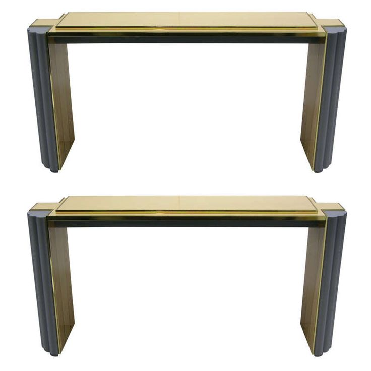 1970s Pair of Alain Delon for Maison Jansen Console Tables   From a unique collection of antique and modern console tables at https://www.1stdibs.com/furniture/tables/console-tables/