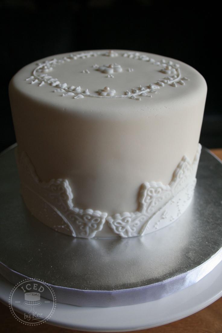 White on Ivory small surprise wedding cake :)