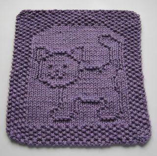 Free+Knitting+Pattern+-+Dishcloths+&+Washcloths+:+Purrfect+Cat+Dishcloth