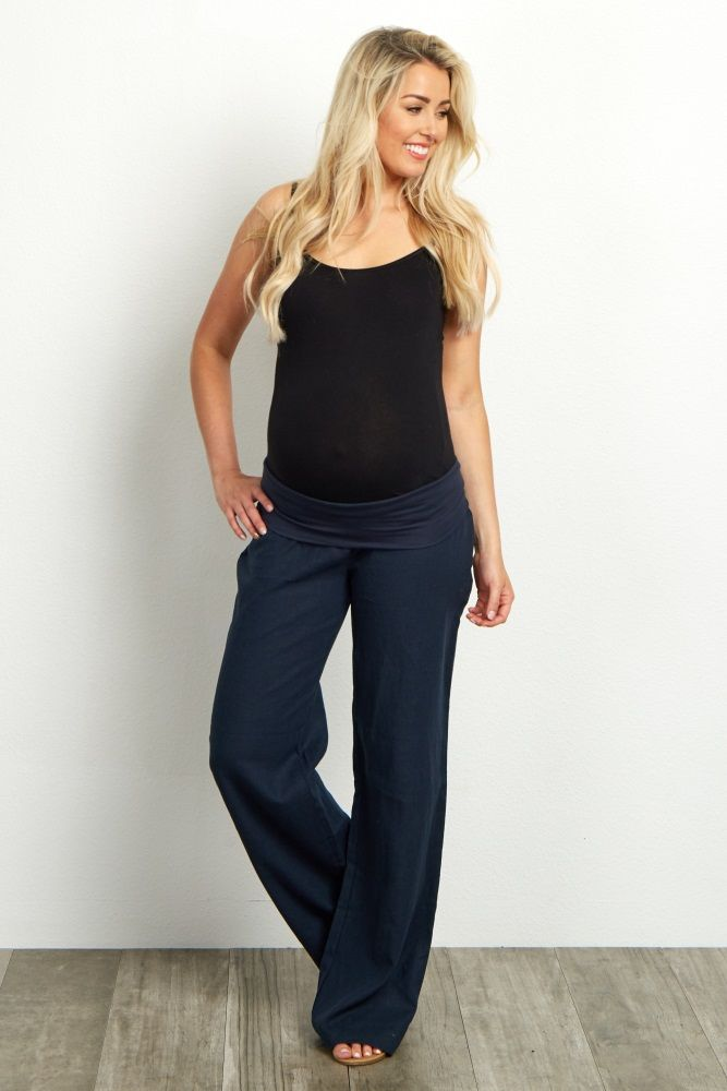 If you're looking for the ultimate comfortable linen maternity pant, then look no further. With a mid-belly waistband, you will be so cozy in these linen maternity pants you won't want to take them off.