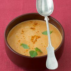 Rote-Linsen-Kokos-Suppe, nicht pürieren, und auch mit Orange statt Zitrone versuchen