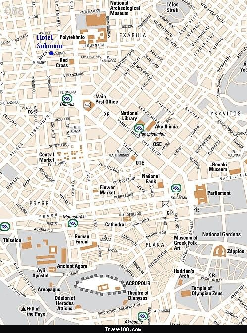 Athens Map Tourist Attractions - http://travel088.com/athens-map-tourist-attractions/