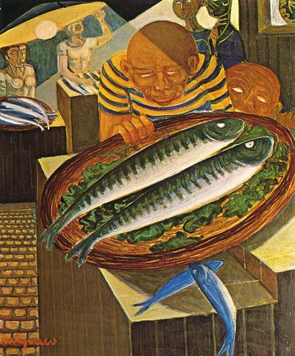Giuseppe Migneco Ragazzi e pesci, 1960 Olio su tela, cm 60x50