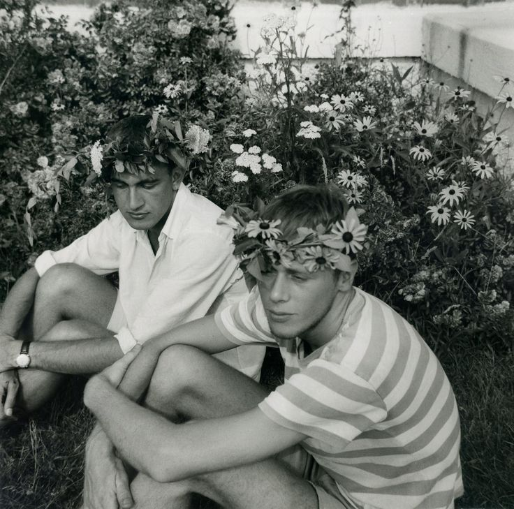 theniftyfifties:  Boys with flowers in their hair, Rhode Island, 1957