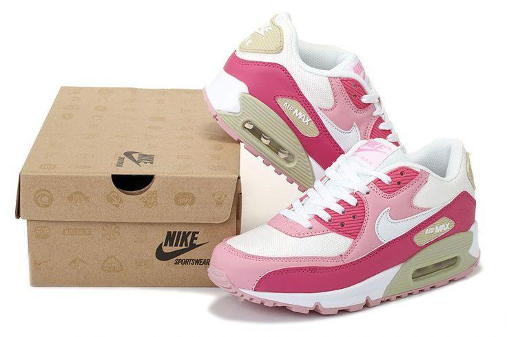 Nike Air Max 90 Blanche/Rosa/Rouge Chaussures Femme Moins Cher
