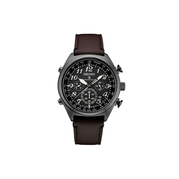 Seiko Men's Prospex Leather Radio Sync Solar Watch - SSG015, Size: Large, Brown