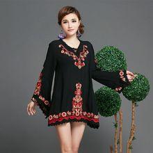 Старинные 70 s этническая пуловер цветочные вышитая хиппи BOHO мексиканская с длинным рукавом блузка ml XL XXL рубашка большой размер бесплатная доставка(China (Mainland))