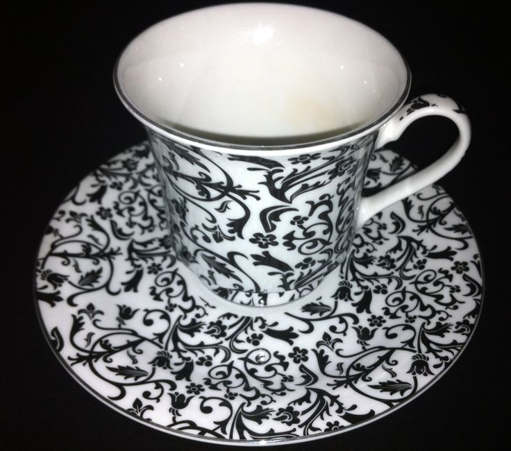 Cup and saucer to match your black and white cupcakes: White Cupcakes, Pots Teas Cups Teas, Black And White, High Teas, Black Whit, Multi Black, Tea Cups, Collection Fave Teacups, Cups Sauces