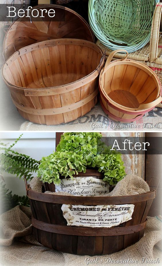 Technique | DISTRESSING :: DIY Half Bussel Basket Makeover :: She stained the baskets w/ a vinegar & steel wool solution which you can read about in the link. Then she sprayed the baskets with a garden hose after applying the solution (b/c it's stinky) then let them dry in the sun. Then she Mod-Podged two different graphics from The Graphic Fairy on the front of each basket. So cute! :: gailsdecorativetouch.blogspot.com
