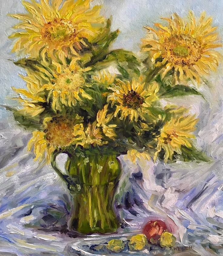 Katherine's Sunflowers 24 x 20 inch oil on canvas by Terrill Welch