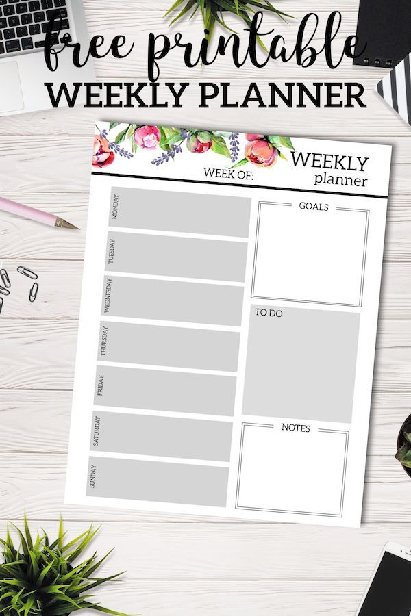 Floral Free Printable Weekly Planner Template Recipes Crafts DIY