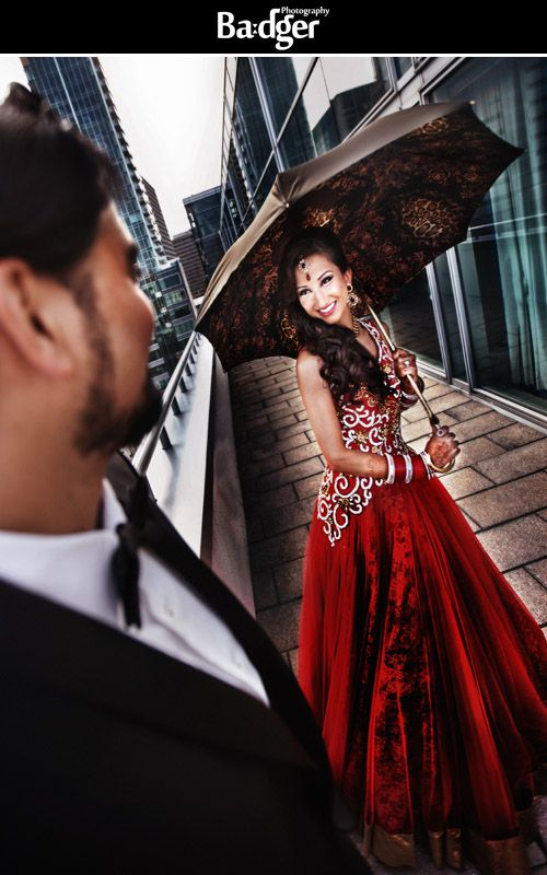 Gorgeous red wedding dress at a Sikh Indian wedding at the W Montreal - by Badger Photography http://badgerphotography.ca