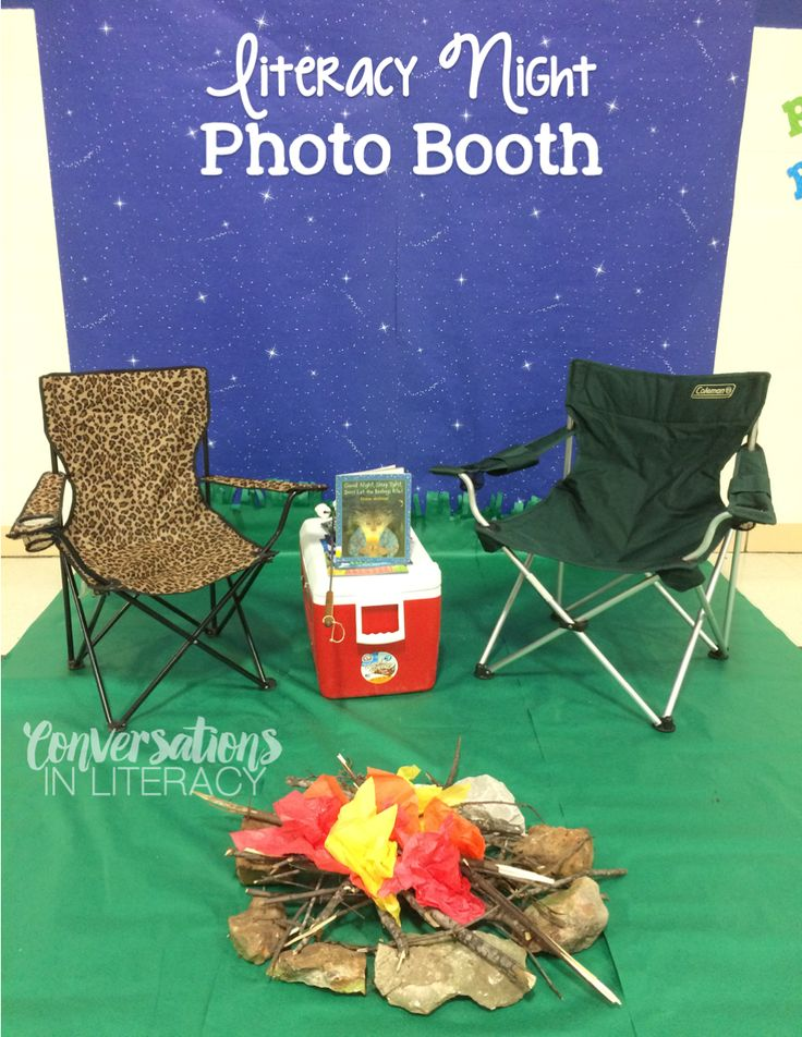 Family Literacy Night Camping Theme photo booth