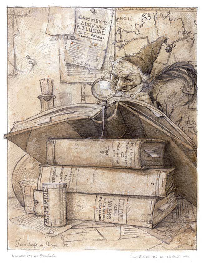 In his study. (Jean-Baptiste Monge)