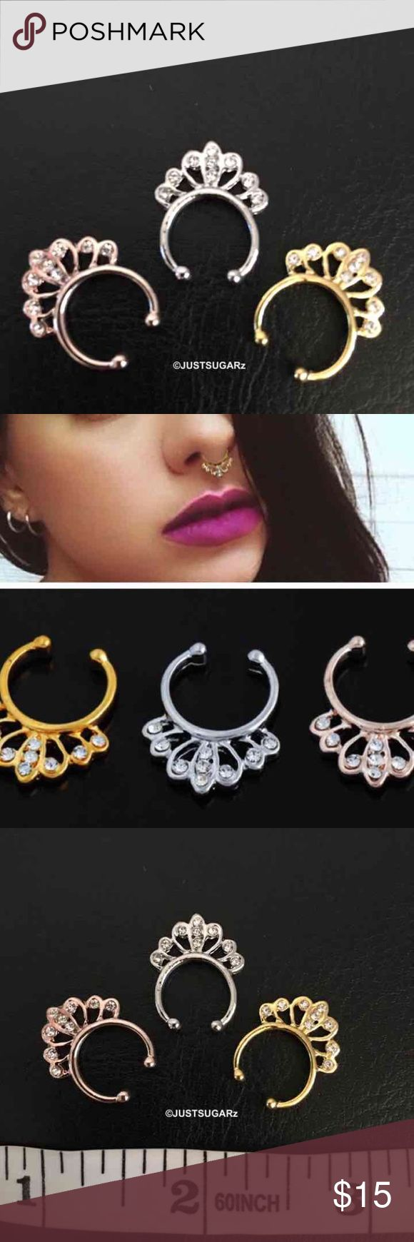 "3/$15 bull nose ring hoop non piercing 3/$15 bull nose ring hoop septum non piercing   Original price: 1/$10  Material: alloy/crystal ---no piercing   Colors available: silver, gold and rose gold   Look fabulous every day of the year. Wear them with a fancy outfit on a special night or casually ...Septum nose rings without having to actually pierce your nose!!!   Item does not have ""tags"" but it sealed in plastic. Never used...brand new.  Please keep in mind that it is the holidays. Thank…"