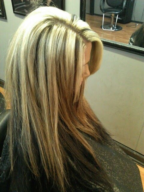 Blonde Chunky Highlights With Reverse Ombre Dark Long Hair