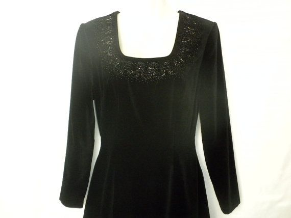 Vintage Laura Ashley Dress 80s Black Velvet Dress by DJVboutique