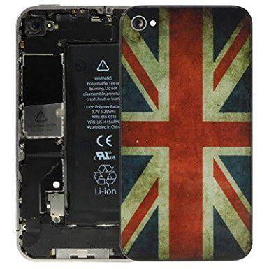 The Fly Shop - Cover per Iphone 4s / Vetro posteriore sostitutivo con Bandiera inglese Regno Unito UK in stile vintage: Amazon.it: Elettronica