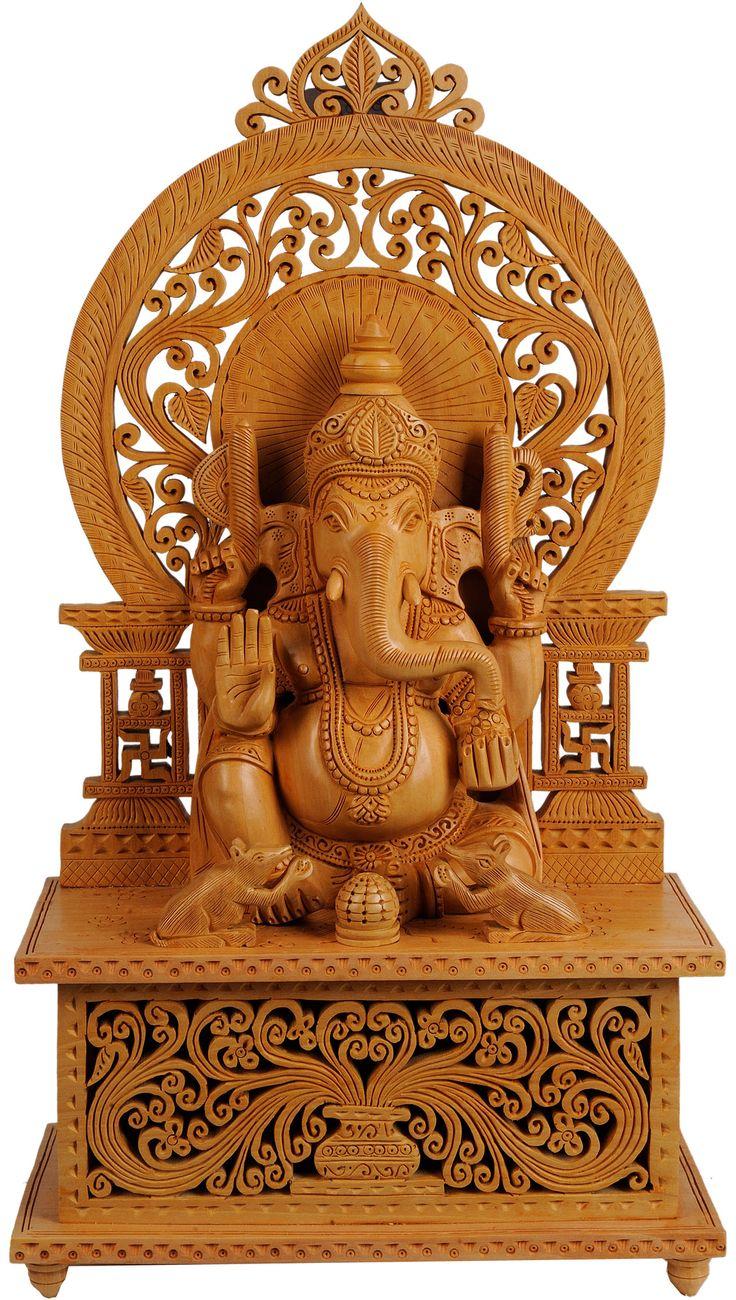 Enthroned Ganesha, carved in kadamba wood, from Jaipur