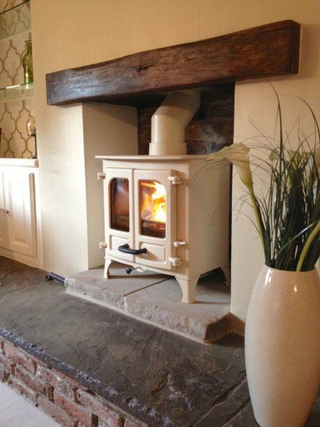Charnwood Island 1 almond, oak fireplace beam, brick recess, Yorkshire stone hearth.jpg