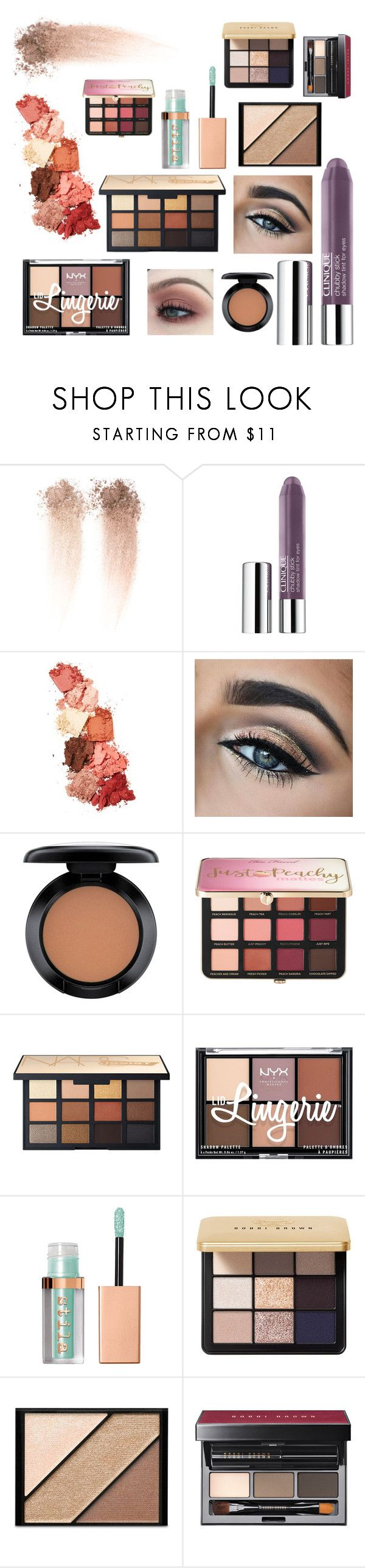 """""""Eyeshadow"""" by ccatprvncess ❤ liked on Polyvore featuring beauty, Clinique, Lime Crime, MAC Cosmetics, Sephora Collection, NYX, Stila, Bobbi Brown Cosmetics, Elizabeth Arden and eyeshadow"""