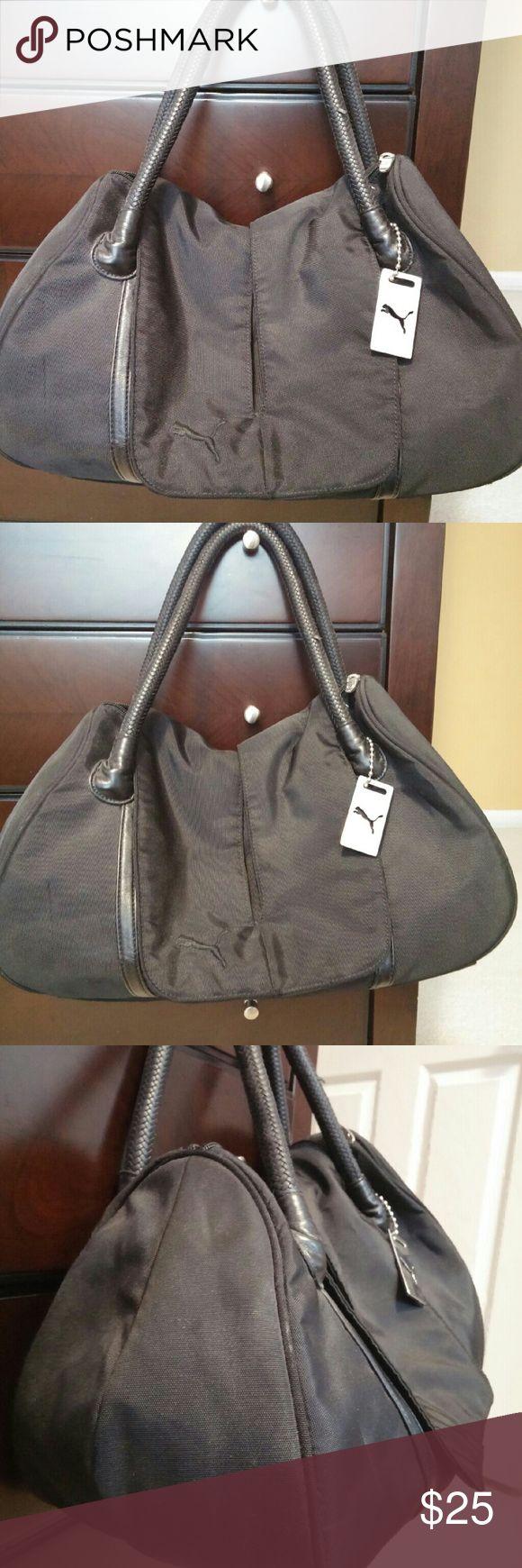 Puma Black Nylon Handbag Puma Black Nylon Handbag with flap and zipper closure. Sorry no trades Puma Bags Shoulder Bags