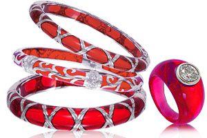 Symphony in Red - Angelique de Paris Bracelets and Ring