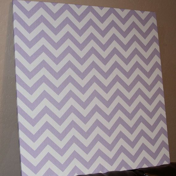 "Fabric Bulletin Board - 24"" x 24"" Pin board, cork board, Large Bulletin Board, Lavender chevron, Girls room, Family Command center"