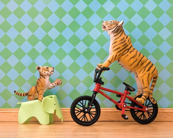 And then there's this...tiger art bmx bicycle orange and teal eames by WildLifePrints