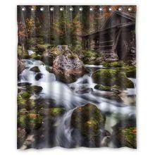 オーストリア河川森林石gollinger エンドミルプリント浴室ポリエステル シャワー カーテン 60 × 72 インチ アメリカン スタイル(China…